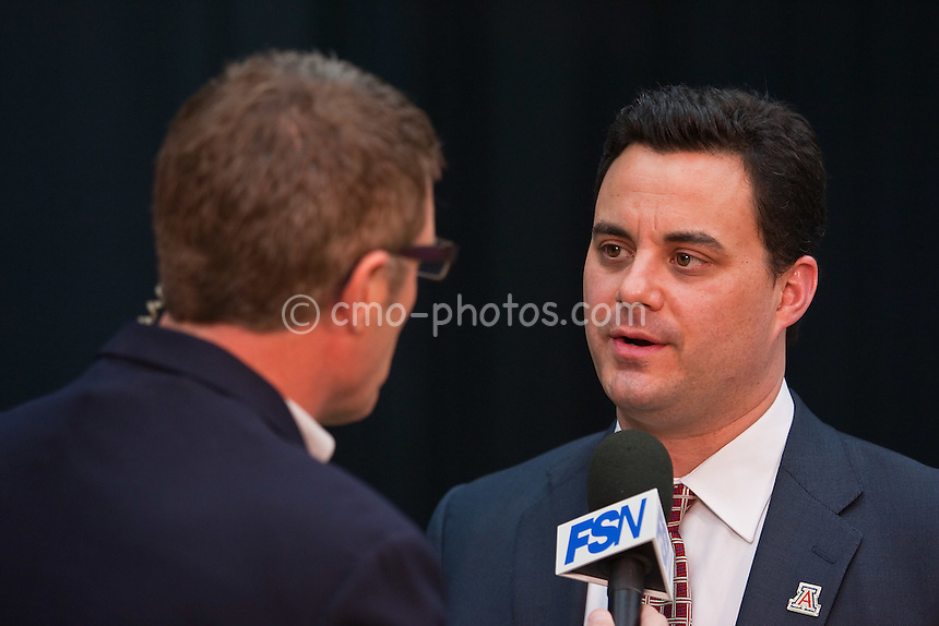 Apr 7, 2009; Tucson, AZ, USA; New Arizona Wildcats head coach Sean Miller is interviewed by a FOX Sports Net reporter following an introductory press conference at the McKale Center.