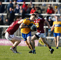26th January 2020; TEG Cusack Park, Mullingar, Westmeath, Ireland; Allianz Football Division 2 Gaelic Football, Westmeath versus Clare; Cillian Brennan (Clare) holds on to the ball under pressure from Callum McCormack (Westmeath)