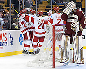 The Terriers celebrate Robbie Baillargeon's (BU - 19) goal. - The Boston College Eagles defeated the Boston University Terriers 3-1 (EN) in their opening round game of the 2014 Beanpot on Monday, February 3, 2014, at TD Garden in Boston, Massachusetts.