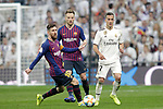 Real Madrid CF's Lucas Vazquez and FC Barcelona's Leo Messi(L) and  Ivan Rakitic during the King's Cup semifinals match. February 27,2019. (ALTERPHOTOS/Alconada)