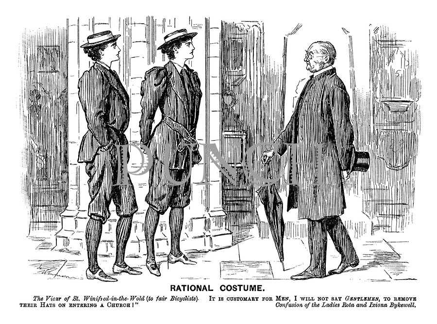 "Rational Costume. The Vicar of St Winifred-in-the-Wold (to fair bicyclists). ""It is customary for men, I will not say gentlemen, to remove their hats on entering a church!"" Confusion of the Ladies Rota and Ixiona Bykewell."