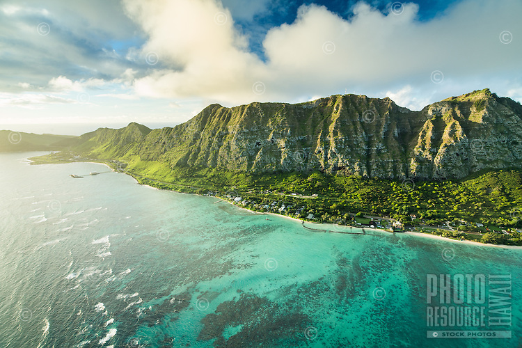 Waimanalo coastline and Ko'olau Mountains in the morning light, East O'ahu.