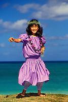 Girl dances an auana hula to Papalina Lahilahi