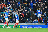 Marcus Harness of Portsmouth right celebrates scoring the first goal in front of the Portsmouth fans during Portsmouth vs AFC Wimbledon, Sky Bet EFL League 1 Football at Fratton Park on 11th January 2020
