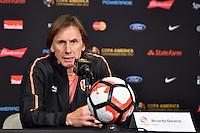 Glendale, AZ - Wednesday June 08, 2016:  Peru manager Ricardo Gareca a Copa America Centenario Group B match between Ecuador (ECU) and Peru (PER) at University of Phoenix Stadium.