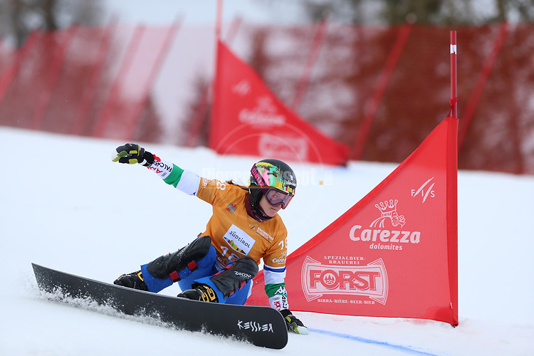 Parallel Slalom event of the FIS Snowboard World Cup on 19/12/2019 in Carezza, Italy.<br />  Nadya Ochner (ITA)