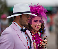LOUISVILLE, KY - MAY 05: Fans dress in their best pink attire on Kentucky Oaks Day at Churchill Downs on May 5, 2017 in Louisville, Kentucky. (Photo by Scott Serio/Eclipse Sportswire/Getty Images)