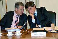 Rome May 7 2008.Provincial committee for the Order and Security.The mayor of Rome Gianni Alemanno with Interior Ministry official Alfredo Mantovano