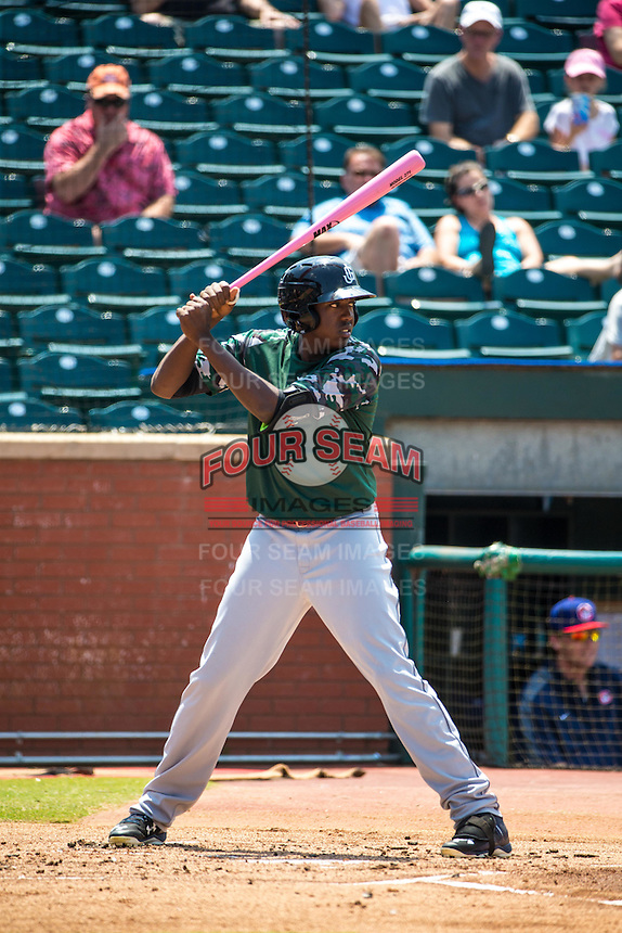 Gabby Guerrero (22) of the Jackson Generals bats during a game between the Jackson Generals and Chattanooga Lookouts at AT&T Field on May 10, 2015 in Chattanooga, Tennessee. (Brace Hemmelgarn/Four Seam Images)