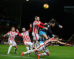 Sam Hutchinson of Sheffield Wednesday is crowded out by Stoke players - Capital One Cup Quarter-Final - Stoke City vs Sheffield Wednesday - Britannia Stadium - Stoke - England - 1st December 2015 - Picture Simon Bellis/Sportimage