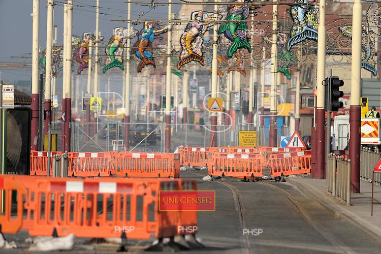 Tramway upgrade opposite Central Pier Blackpool Lancashire UK......© Phill Heywood.