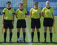 20190301 - LARNACA , CYPRUS : German assistant referee Katrin Rafalski (left) , German referee Riem Hussein (middle-left) , Hungarian referee Katalin Kulcsar (middle-right) and Scottish assistant referee Kylie Cockburn (right) pictured during a women's soccer game between Slovakia and Nigeria , on Friday 1 March 2019 at the Antonis Papadopoulos Stadium in Larnaca , Cyprus . This is the second game in group C for both teams during the Cyprus Womens Cup 2019 , a prestigious women soccer tournament as a preparation on the Uefa Women's Euro 2021 qualification duels and FIFA Women's World Cup 2019 in France . PHOTO SPORTPIX.BE | STIJN AUDOOREN