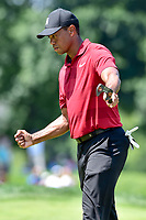 Bethesda, MD - July 1, 2018: Tiger Woods is fired up after hitting a Birdie on the 7th hole during final round of professional play at the Quicken Loans National Tournament at TPC Potomac at Avenel Farm in Bethesda, MD.  (Photo by Phillip Peters/Media Images International)