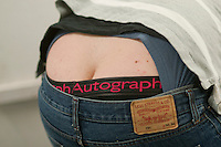 """""""Builder's bum"""" as presented by a construction industry student, Able Skills, Dartford, Kent."""
