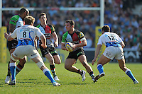 London, England. George Lowe of Harlequins in action during the Aviva Premiership match between Harlequins and Bath Rugby at Twickenham Stoop on March 24, 2012 in Twickenham, England.