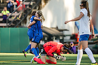 Seattle, Washington - Saturday, July 2nd, 2016: Seattle Reign FC forward Nahomi Kawasumi (36) celebrates her goal with Seattle Reign FC midfielder Beverly Yanez (17) during a regular season National Women's Soccer League (NWSL) match between the Seattle Reign FC and the Boston Breakers at Memorial Stadium. Seattle won 2-0.