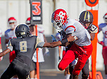 Palos Verdes, CA 10/24/14 - Warren Jackson (Redondo Union #18) and Jeff Hector (Peninsula #8)in action during the Redondo Union - Palos Verdes Peninsula CIF Varsity football game at Peninsula High School.