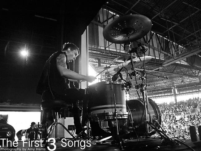 James Cassells of Asking Alexandria performs at the 2012 Rockstar Energy Drink Mayhem Festival at Blossom Music Center in Cincinnati, Ohio.