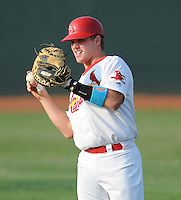 Catcher Kolby Byrd (33) of the Johnson City Cardinals, Appalachian League affiliate of the St. Louis Cardinals, prior to a game against the Danville Braves on August 19, 2011, at Howard Johnson Field in Johnson City, Tennessee. Danville defeated Johnson City, 5-4, in 16 innings. (Tom Priddy/Four Seam Images)