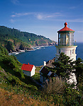 Siuslaw National Forest, OR      <br /> Haceta Head lighthouse and headlands of the Oregon coast above Devil's Elbow State Park