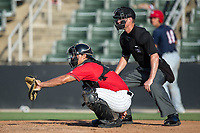 Kannapolis Intimidators catcher Seby Zavala (21) sets a target as home plate umpire Mark Bass looks on during the game against the Hagerstown Suns at Kannapolis Intimidators Stadium on June 14, 2017 in Kannapolis, North Carolina.  The Intimidators defeated the Suns 4-1 in game one of a double-header.  (Brian Westerholt/Four Seam Images)