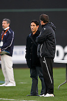 FC Gold Pride head coach Albertin Montoya talks with Sky Blue FC head coach Ian Sawyers before the game. Sky Blue FC and FC Gold Pride played to a 1-1 tie during a Women's Professional Soccer match at TD Bank Ballpark in Bridgewater, NJ, on April 11, 2009.