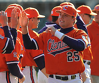 Kyle Parker (25) is introduced prior to a game between the Charlotte 49ers and Clemson Tigers Feb. 20, 2009, at Doug Kingsmore Stadium in Clemson, S.C. (Photo by: Tom Priddy/Four Seam Images)