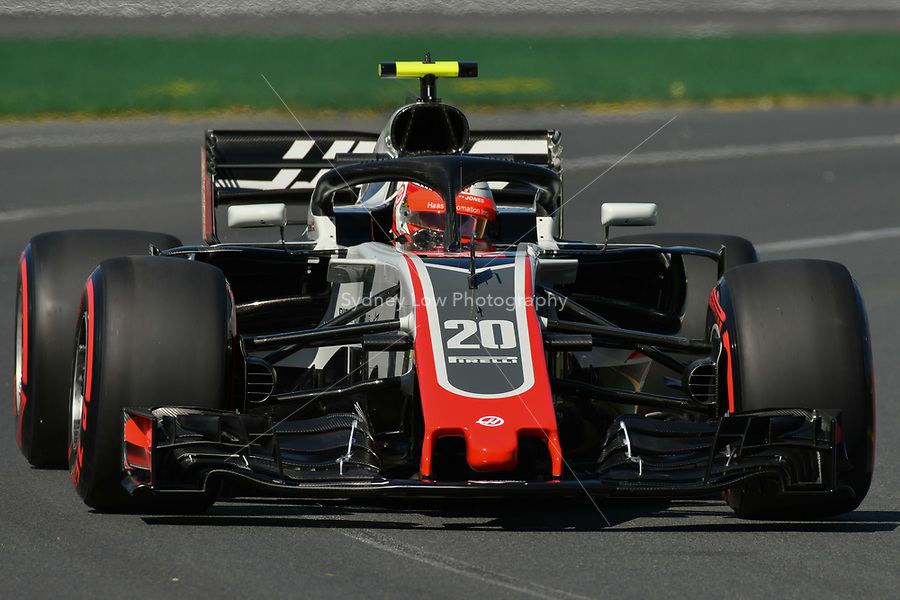 March 23, 2018: Kevin Magnussen (DEN) #20 from the Haas F1 Team during practice session one at the 2018 Australian Formula One Grand Prix at Albert Park, Melbourne, Australia. Photo Sydney Low