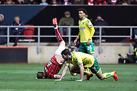 Aden Flint of Bristol City goes down under the challenge from Nelson Oliveira of Norwich City during Bristol City vs Norwich City, Sky Bet EFL Championship Football at Ashton Gate on 13th January 2018