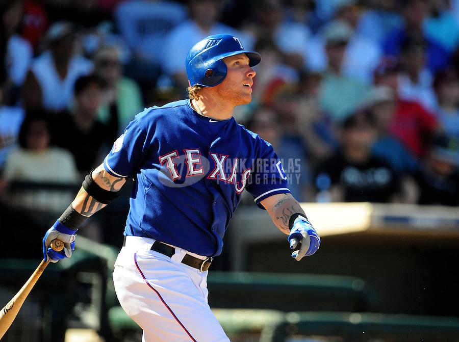 Mar. 15, 2012; Surprise, AZ, USA; Texas Rangers outfielder Josh Hamilton in the fourth inning against the Oakland Athletics at Surprise Stadium.  Mandatory Credit: Mark J. Rebilas-