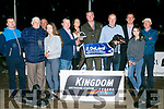 Toast of London, Ballymacelligott, winner of the De Laval  Stakes Final at the Kingdom Greyhound Stadium on Friday. Pictured Mike Brodrick, Mikey Reidy, Maeve Malony, Billy Cashman, Derek O'Brien, marion kavanagh, Donal Healy, Owner, Mike Daly, Leah Costello, Declan Dowling, John P Malony