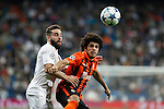 Real Madrid´s Daniel Carvajal and Shakhtar Donetsk´s /sk during Champions League soccer match between Real Madrid and Shakhtar Donetsk at Santiago Bernabeu stadium in Madrid, Spain. Spetember 15, 2015. (ALTERPHOTOS/Victor Blanco)