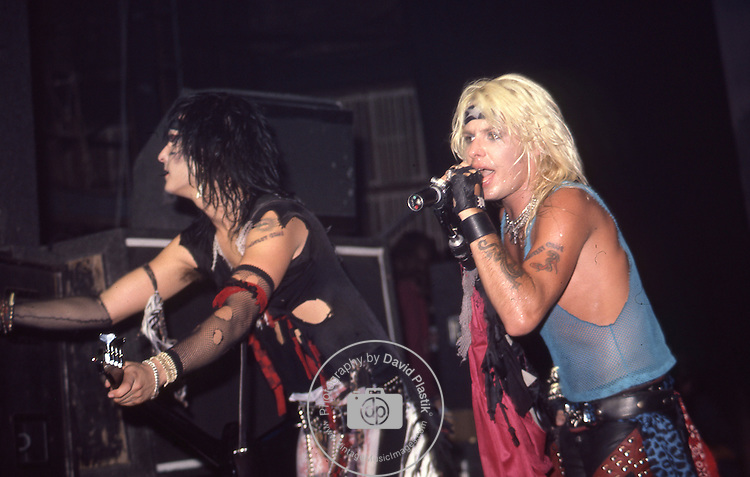 Nikki Sixx & Vince Neil of Vince Neil of Motley Crue at the Beacon Theater in New York May 1984.