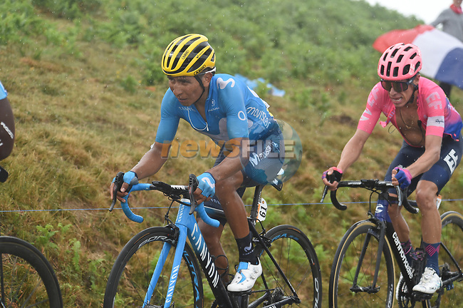 Nairo Quintana (COL) Movistar Team and Rigoberto Uran (COl) EF Education First lose time on the approach to the finish on Prat d'Albis during Stage 15 of the 2019 Tour de France running 185km from Limoux to Foix Prat d'Albis, France. 20th July 2019.<br /> Picture: Colin Flockton | Cyclefile<br /> All photos usage must carry mandatory copyright credit (© Cyclefile | Colin Flockton)