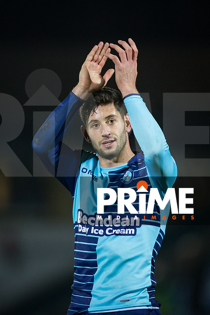 Joe Jacobson of Wycombe Wanderers at full time the Sky Bet League 2 match between Wycombe Wanderers and Yeovil Town at Adams Park, High Wycombe, England on 25 November 2017. Photo by Andy Rowland.