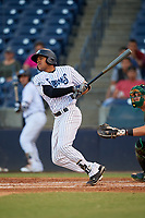 Tampa Tarpons designated hitter Timothy Robinson (30) hits a single during a game against the Daytona Tortugas on April 18, 2018 at George M. Steinbrenner Field in Tampa, Florida.  Tampa defeated Daytona 12-0.  (Mike Janes/Four Seam Images)