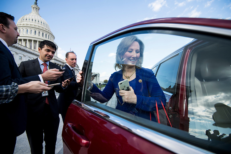UNITED STATES - NOVEMBER 16: Rep. Barbara Comstock, R-Va., speaks with reporters as she leaves the Capitol following passage of tax reform on Thursday, Nov. 16, 2017. (Photo By Bill Clark/CQ Roll Call)