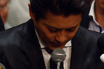Tatsuya Yamaguchi member of the all-male pop group Tokio bows to apologize during a news conference on April 26, 2018, Tokyo, Japan. Yamaguchi apologized and expressed his deep regret for forcibly kissing a female high school student under alcohol influence. (Photo by Rodrigo Reyes Marin/AFLO)