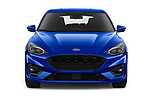 Car photography straight front view of a 2018 Ford Focus ST Line Business 4 Door Hatchback
