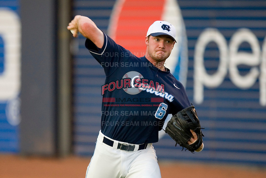Alex White #6 of the North Carolina Tar Heels warms up prior to pitching against the Virginia Cavaliers at Durham Bulls Athletic Park May 22, 2009 in Durham, North Carolina.  (Photo by Brian Westerholt / Four Seam Images)