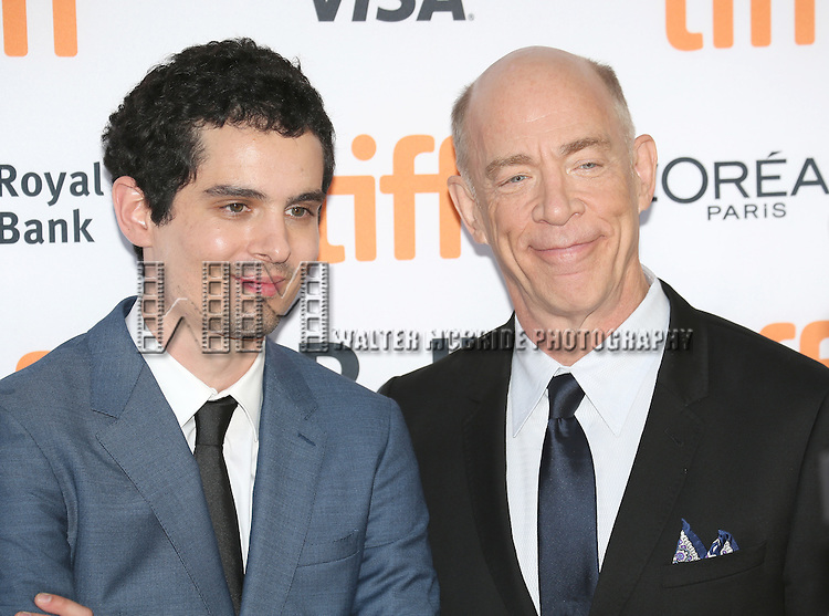 Damien Chazelle and J.K. Simmons attends the 'La La Land' Premiere during the 2016 Toronto International Film Festival at Princess of Wales Theatre on September 12, 2016 in Toronto, Canada.