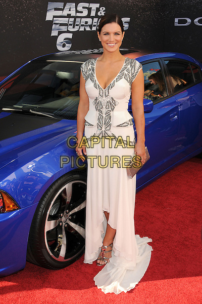 "Gina Carano.""Fast & Furious 6"" Los Angeles Premiere held at the Universal Gibson Amphitheatre, Universal City, California, USA..May 21st, 2013.full length white silver beads beaded dress .CAP/ADM/BP.©Byron Purvis/AdMedia/Capital Pictures"