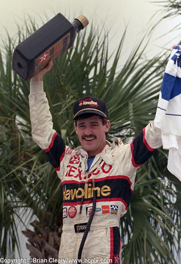Davey Allison 1st place winner celebrates victory lane Pepsi 400 at Daytona International Speedway in Daytona beach, FL on July 1, 1989. (Photo by Brian Cleary/www.bcpix.com)