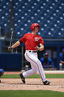 GCL Nationals first baseman Jackson Cramer (25) at bat during the second game of a doubleheader against the GCL Mets on July 22, 2017 at The Ballpark of the Palm Beaches in Palm Beach, Florida.  GCL Mets defeated the GCL Nationals 1-0.  (Mike Janes/Four Seam Images)