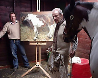 BNPS.co.uk (01202 558833)<br /> Pic: SisterLangdon/BNPS<br /> <br /> Freud at the pony centre with a different horse (Sioux) that he did paint.<br /> <br /> An abandoned drawing of a horse by Lucian Freud together with painting materials he also left behind have sold at auction for £80,000.