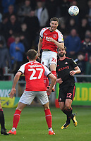 Fleetwood Town's James Husband gets to the ball first <br /> <br /> Photographer Dave Howarth/CameraSport<br /> <br /> The EFL Sky Bet League One - Fleetwood Town v Sunderland - Tuesday 30th April 2019 - Highbury Stadium - Fleetwood<br /> <br /> World Copyright © 2019 CameraSport. All rights reserved. 43 Linden Ave. Countesthorpe. Leicester. England. LE8 5PG - Tel: +44 (0) 116 277 4147 - admin@camerasport.com - www.camerasport.com