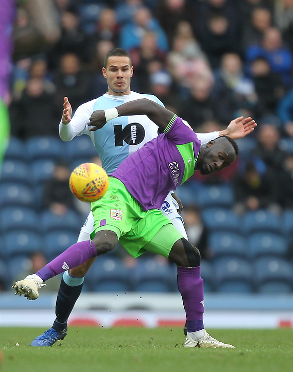 Blackburn Rovers Jack Rodwell battles with  Bristol City's Famara Diedhiou<br /> <br /> Photographer Mick Walker/CameraSport<br /> <br /> The EFL Sky Bet Championship - Blackburn Rovers v Bristol City - Saturday 9th February 2019 - Ewood Park - Blackburn<br /> <br /> World Copyright © 2019 CameraSport. All rights reserved. 43 Linden Ave. Countesthorpe. Leicester. England. LE8 5PG - Tel: +44 (0) 116 277 4147 - admin@camerasport.com - www.camerasport.com