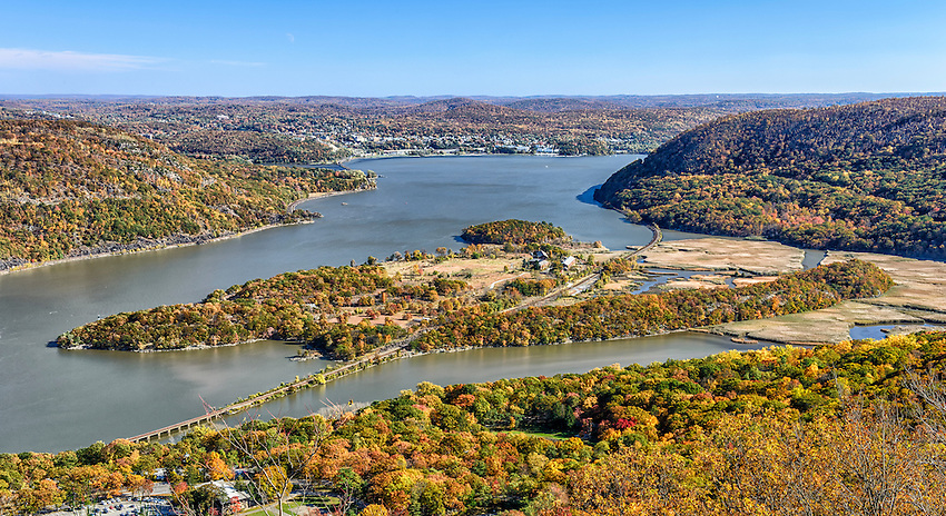 A view of Iona Island in autumn from Bear Mountain State Park. Iona Island is located in the Hudson River just south of the Bear Mountain Bridge.