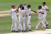 Simon Harmer of Essex (L) is congratulated by his team mates after taking the wicket of Sam Hain during Essex CCC vs Warwickshire CCC, Specsavers County Championship Division 1 Cricket at The Cloudfm County Ground on 22nd June 2017
