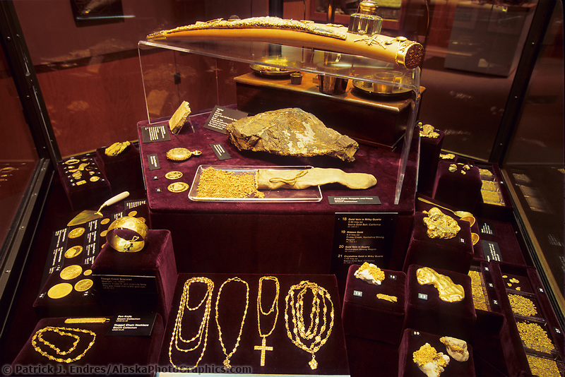 Gold nugget display, University of Alaska Museum, Fairbanks, Alaska,